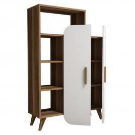 Biblioteca cu etajere si usi albe, 90*32*140 cm