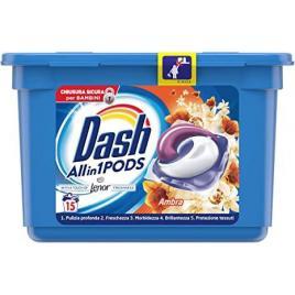 Detergent rufe capsule dash 5 in 1 cu balsam lenor chihlimbar 15 pods 396gr