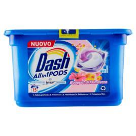 Detergent rufe capsule dash 5 in 1 cu balsam lenor buchet de primavara 15 pods 396gr