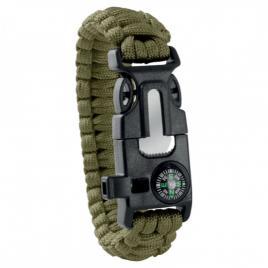Bratara de supravietuire in aer liber, tip army, 5 in 1, paracord, busola , fluier, cutit, cremene, verde