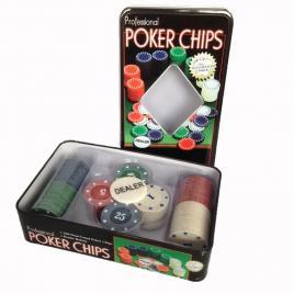 Joc de poker in cutie de aluminiu cu 2 pachete de carti si 4 x 25 jetoane (albastru, verde, alb si rosu), 192 x 117 x 50 mm
