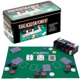 Poker cu 200 chips poker in cutie metalica, buton dealer, jetoane 4 culori de 1, 5 10 si 25,  carti joc