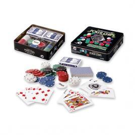 Set poker cu 100 chips poker in cutie metalica, buton dealer, jetoane 4 culori de 1, 5 10 si 25,  2 carti joc