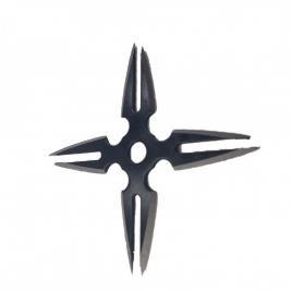 Steluta ninja, stea samurai pentru aruncat la tinta 4 colturi in husa, negre, 8 varfuri, 6 cm, furculita