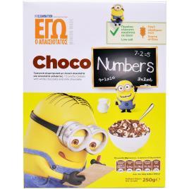 Minions Choco Numbers 250 gr. Cereale crocante cu Ciocolata alba si Ciocolata cu lapte