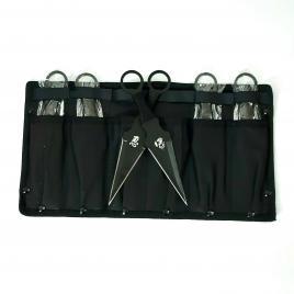 Set 6 Cutite de Aruncat cu Dragon Design si Husa de Prindere la Picior, din otel, 16.5x8 cm, negru