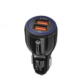 Incarcator Auto Fast Charge 3.1 Dual USB 5.4A/35W - QC 3.0 3A + Smart IC 9v-12v 1.8A