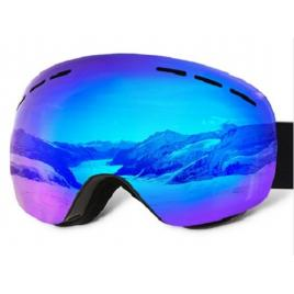 Ochelari ski/snowboard , cu lentile dublu ventilate anti-ceata, oglinda, albastri, Polarizati, UV400