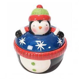 Borcan craciun ceramic decorativ cu capac model pinguin Ø 9 cm x 10 h