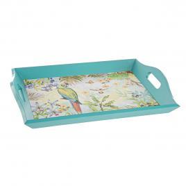 Tava lemn albastru model papagal 40 cm x 29 cm x 6 h