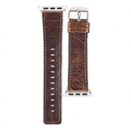 Curea compatibila apple watch, 42/44mm, din piele naturala, vintage, cafea