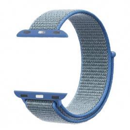 Curea compatibila apple watch, 42/44mm, nylon albastru/gri