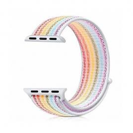 Curea compatibila apple watch, 42/44mm, nylon rainbow