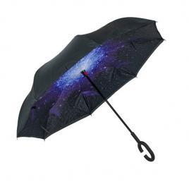 Umbrela reversibila cu model galactic, negru