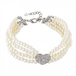 Zgarda pentru caini de talie mica, tip colier perle, gonga alb m