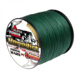 Fir textil impletit in 4 camasuit Benedict, culoare verde, profil rotund, rezistent la abraziune,0.28mm, 1000m