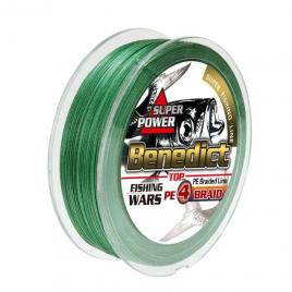 Fir textil impletit in 4 camasuit Benedict, verde, profil rotund, rezistent la abraziune, 0.28mm, 300m