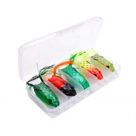 Set 5 broaste pescuit stiuca, Fishingbox, pescuit la suprafata, lungime 6cm, greutate 12gr, soft, multicolor