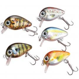 Set 5 voblere clean, biban, avat, Fishingbox, plastic, abs, multicolor,modelul 5, 3 cm