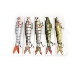 Set 5 voblere segmentate pentru pescuit stiuca, somn, salau, 8 segmenti, FishingBox, 14cm, 23gr, multicolor, Crankbait, Swimbait