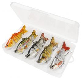Set 5 voblere stiuca, somn, salau, Fishingbox, plastic, slow sinking, crankbait, multicolor, 10cm, 17.5gr