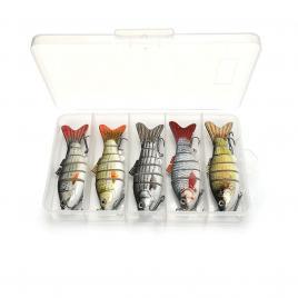 Set 5 voblere stiuca, somn, salau, Fishingbox, plastic, slow sinking, crankbait, multicolor, setul 2, 10cm, 17.5gr