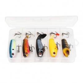 Set Naluci 10cm 16.8g Whopper Poppers Momeala de pescuit pentru stiuca,vobler de suprafata cu coada rotativa, model 2