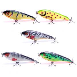 Set Voblere JerkBait 9cm 21gr, 5 bucati, multicolor,stiuca, somn, salau,slow sinking, scufundare lenta