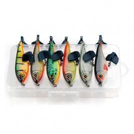 Set de 5 naluci Jerkbait cu cutie de pescuit Mini Crankbaits VIB Wobblers Naluci de pescuit pentru stiuca somn salau