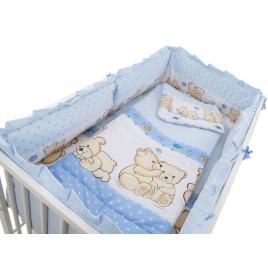 Lenjerie mykids teddy friends albastru 4+1 piese m2 140x70