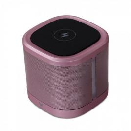 Boxa portabila wireless, incarcare rapida qi si radio fm, rose gold