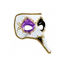Masca carnaval venetian model casanova cu detalii aurii, mov/negru