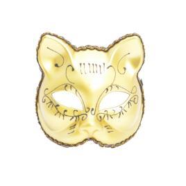 Masca carnaval venetian model pisicuta, auriu