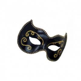 Masca carnaval venetian pentru ochi, negru cu detalii aurii
