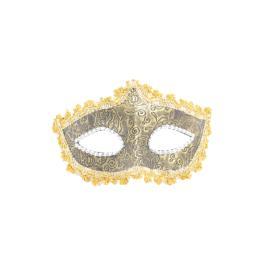 Masca carnaval venetian pentru ochi cu model floral, galben/maro