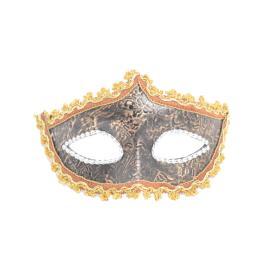 Masca carnaval venetian pentru ochi cu model floral, portocaliu/maro