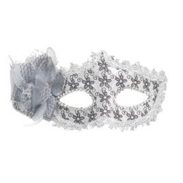 Masca carnaval venetian pentru ochi cu trandafir, argintiu
