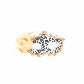 Masca carnaval venetian pentru ochi cu trandafir, leopard