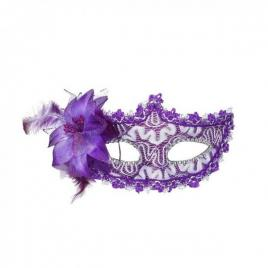 Masca carnaval venetian pentru ochi cu trandafir, mov