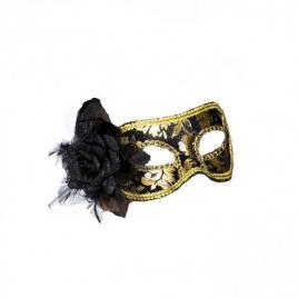 Masca carnaval venetian pentru ochi cu trandafir, negru/auriu