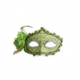 Masca carnaval venetian pentru ochi cu trandafir, verde deschis