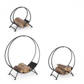 Set 3 suporturi pentru lemne din fier negru efesto 91 cm x 32 cm x 88 h