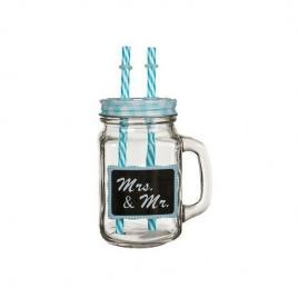 Pahar din sticla cu 2 paie, capacitate 450 ml albastru
