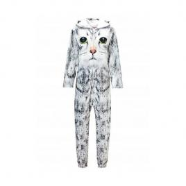 Pijama intreaga model pisicuta, marimea s gri