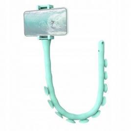 Suport flexibil pentru telefon cu ventuze, din silicon verde
