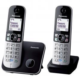 Telefon Panasonic Dect KX-TG6812FXB, Twin, 2 receptoare, Caller ID, Negru/Argintiu