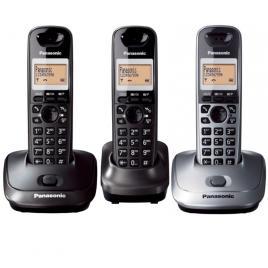 Telefon fara fir DECT Panasonic KX-TG2512FXT + KX-TG2511FXM, Caller ID, 3 receptoare, Negru/ Argintiu