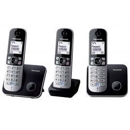 Telefon fara fir DECT Panasonic KX-TG6812FXB + KX-TG6811FXB, Caller ID, 3 receptoare, Negru/Argintiu.