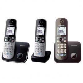 Telefon fara fir DECT Panasonic KX-TG6812FXB + KX-TG6811FXM, Caller ID, 3 receptoare, Negru/Metalic.