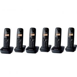 Telefon fara fir DECT Panasonic cu 6 receptoare, Caller ID, Display LCD, 3 x KX-TG1612FXH